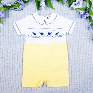 Carriage Boutiques toddler boy Summer whale romper